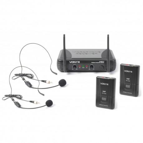 STWM-712H Micro inalámbrico 2 canales VHF doble cabeza Skytec