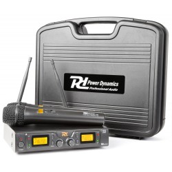 PD-782 Micrófono inalámbrico UHF 2x 8 canales con 2 micros Power Dynamics