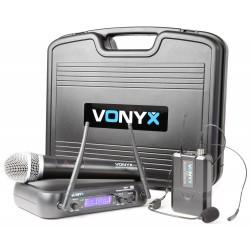 WM-73C Combi System Wireless UHF 2 canales con micro de mano y petaca y Display Vonyx