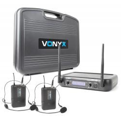 WM-73H Micrófono inalámbrico UHF 2 canales con 2 micros de cabeza y Display Vonyx