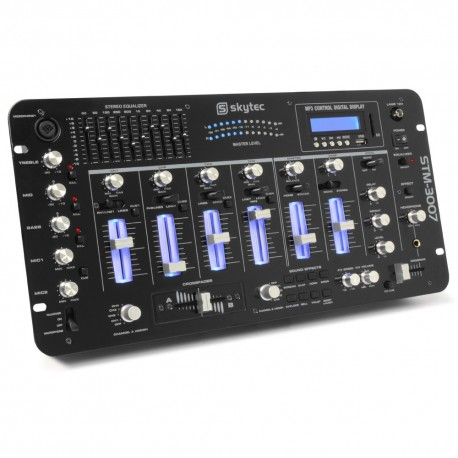 "STM-3007 Mezclador 6 canales SD/USB/MP3/LED/Bluetooth 19"" Skytec"
