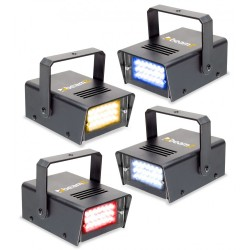 BeamZ Conjunto de 4 mini LED estroboscopios RYBW