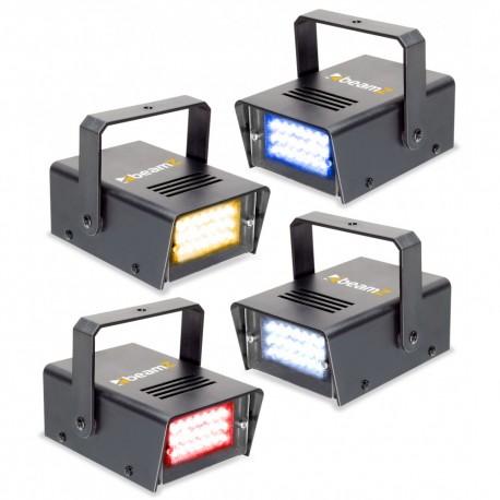 BeamZ Conjunto de 4 mini LED estroboscopios RYBW