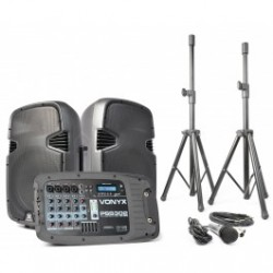 "PSS-302 Set altavoces activos 10"" con trípodes, cables y micro SD/USB/MP3/BT Vonyx"