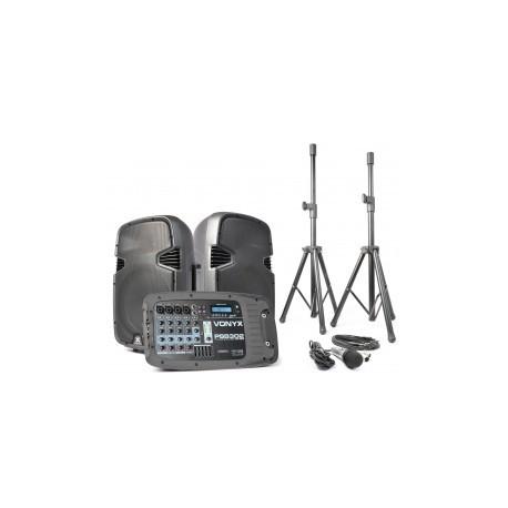 """PSS-302 Set altavoces activos 10"""" con trípodes, cables y micro SD/USB/MP3/BT Vonyx"""