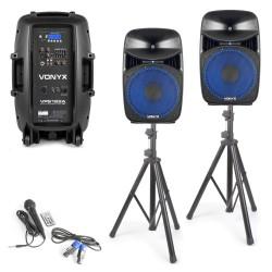 VPS122A Set bafles activos con trípodes, cables y micrófono Vonyx
