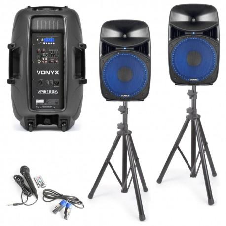 VPS152A Set bafles activos con trípodes, cables y micro 1000W Vonyx