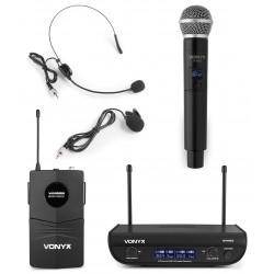 WM82C Micrófono inalámbrico digital UHF de 2 canales con bolsillo y cuerpo Vonyx